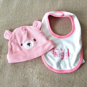 G is for Giggly bib + bear hat